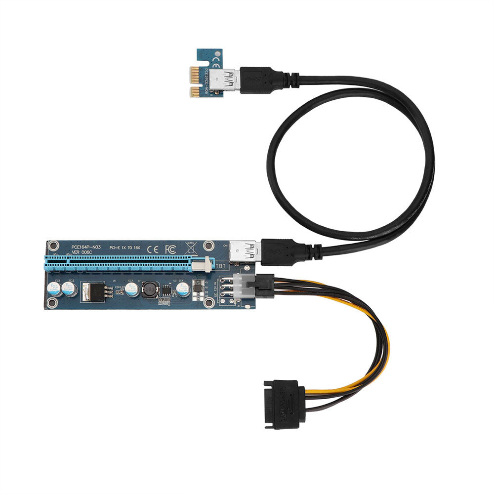 006C PC PCIe PCI-E PCI Express Riser Card 1x to 16x USB 3.0 Data Cable SATA to 6Pin IDE Molex Power Supply for BTC Miner Machine