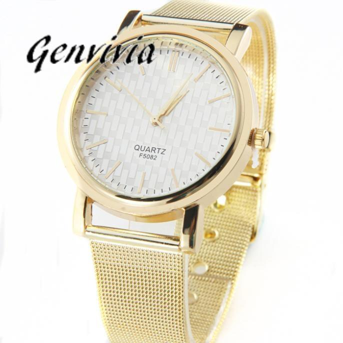 Genvivia 2017 New Luxury Casual Watch Women Lady Gold Stainless Steel Quartz Analog Wrist Watch  Free shipping&Wholesales