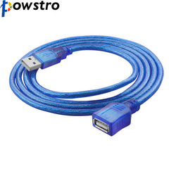 1M/3M USB 2.0 Extension Print Cable Transparent Blue Wholesale Extended USB Cable for Cameras and USB Computer Peripherals
