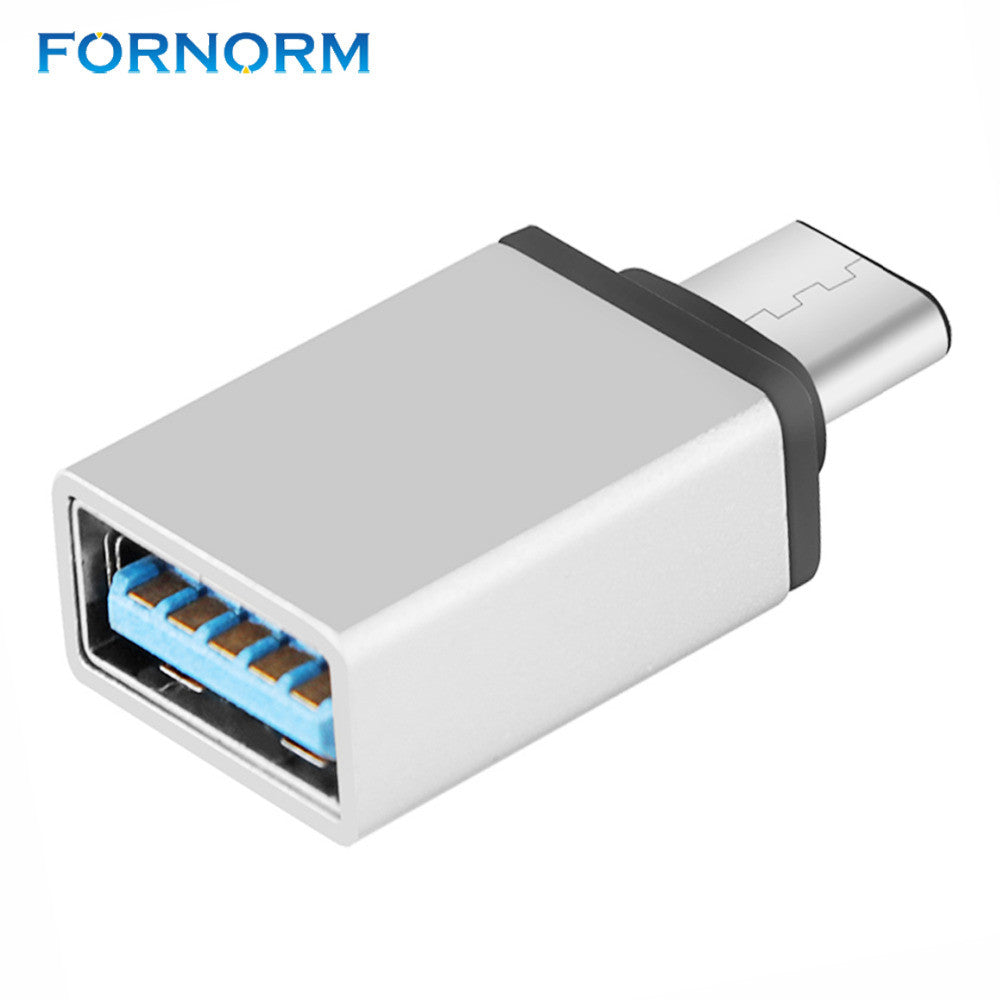 FORNORM high Speed USB 3.0 Type C Female to USB 3.0 Male Port Adapter USB-C to USB3.0 Type-A Connector Converter / silver Color