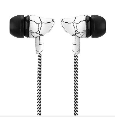 Powstro 3.5mm Wired Headset  In Ear Earphone Stereo Bass Music Earpieces with Microphone Cloth Rope for Cellphone MP3 MP4