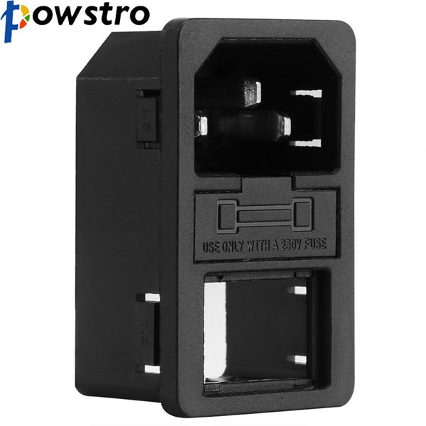 Powstro Red Light IEC 320 C14 Inlet Rocker Switch Power Socket Connector Plug 10A 250V B2C