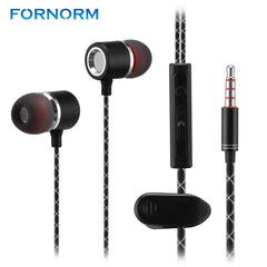 FORNORM Universal Earphone Wired Super Heavy Bass Earbuds In-ear With Stereo Microphone Headset for Samsung iPhone Xiaomi HTC LG