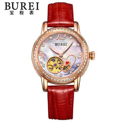 BUREI Elegant Crystal Sapphire Ladies Genuine Leather Automatic Mechanical Watch Hollow Wristwatch With Premiums Package 15032