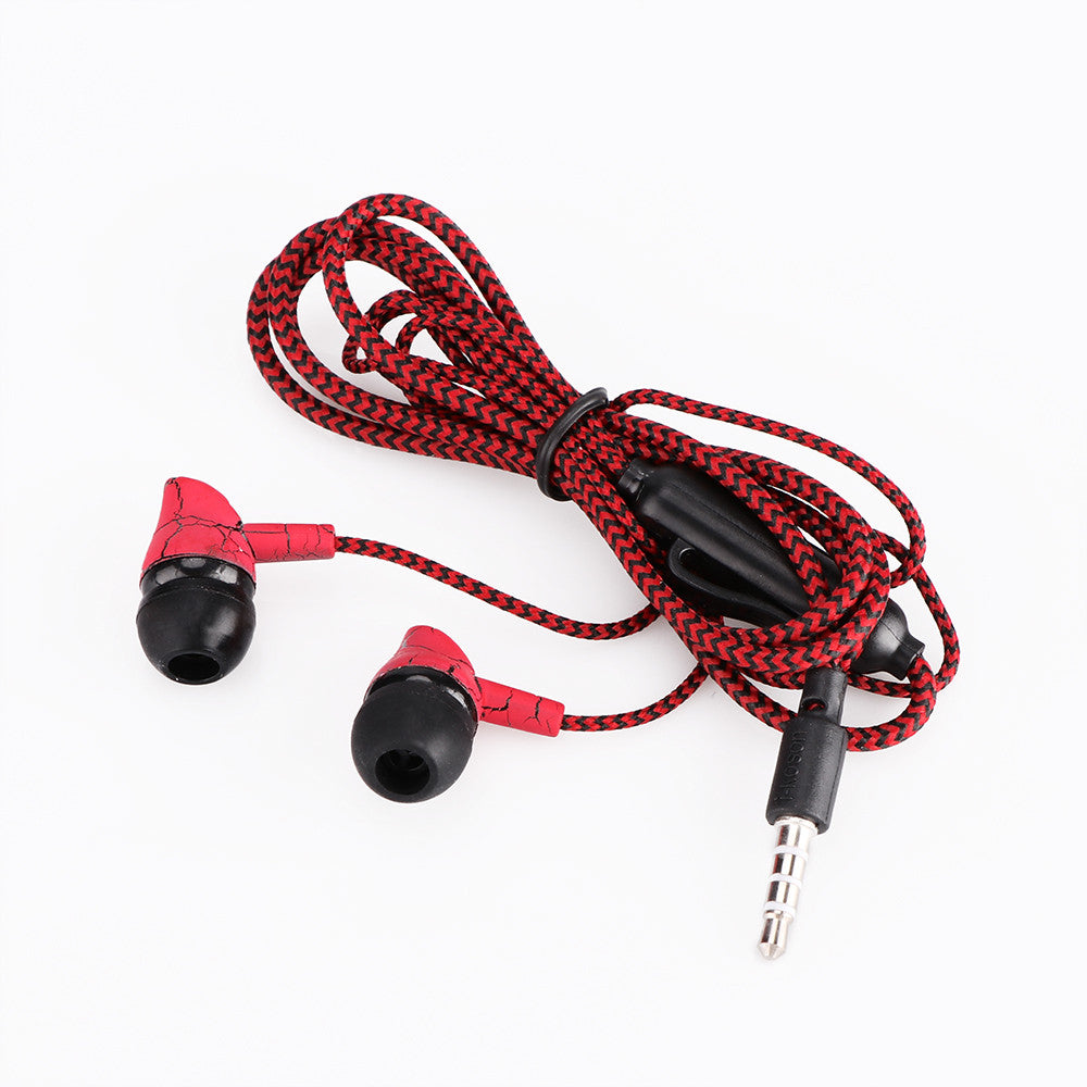 Wired 3.5mm Fashion Design Nylon Braided Crack Earphone Cloth Rope Earpieces Stereo Bass MP3 Music Wired Headset with Microphone for Cellphone MP3 MP4