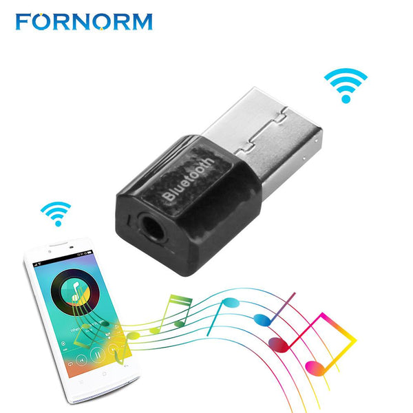 FORNORM USB Bluetooth Music Audio Receiver Adapter 3.5mm Stereo Audio A2DP to Speaker Sound Box for iPhone 8 7 6S For Samsung