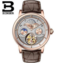 Switzerland BINGER Men Watch Brand Luxury Seagull Automatic Movemt Watches Male Tourbillon Sapphire Alligator Hide Mechanical 2