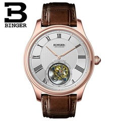 Switzerland BINGER Watches Men Seagull Automatic Movemt Watch Male Tourbillon Sapphire Alligator Hide Mechanical Brand Luxury