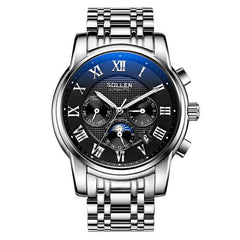 SOLLEN  function automatic mechanical watch men waterproof steel moon phase night light male watches