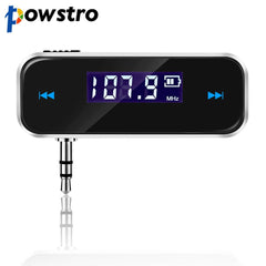 Powstro Wireless Adapter 3.5mm Transmitter Music Audio LCD Diaplay Handsfree for iPhone iPod Samsung Mobile MP3 Player Tablet