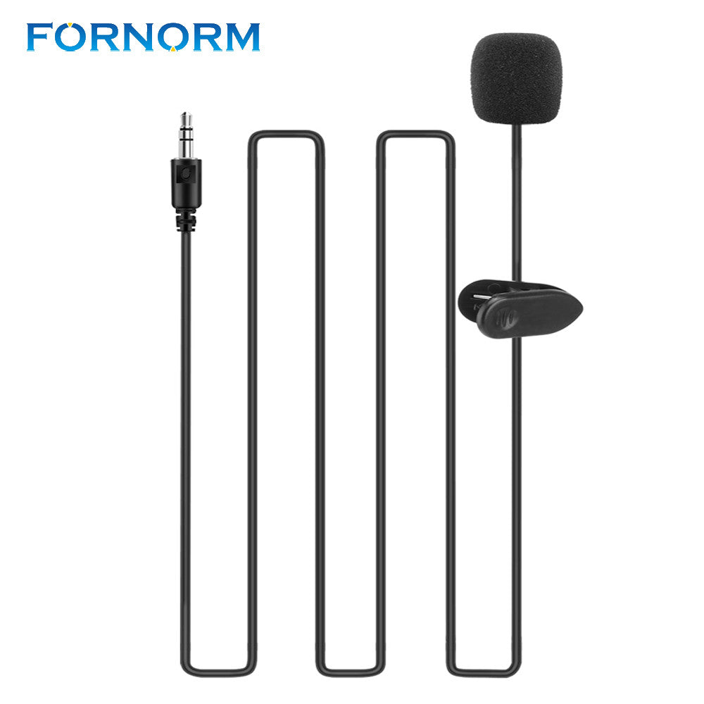 FORNORM 3.5mm Jack Condenser Wired Microphone Mini Portable Clip-on Lapel Lavalier Hands-free for iPhone iPad Smartphones