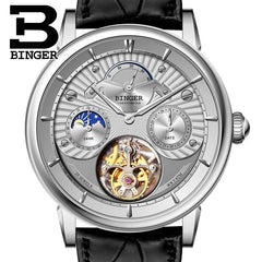 Switzerland BINGER Men Watch Brand Luxury Seagull Automatic Movemt Watches Male Tourbillon Sapphire Alligator Hide Mechanical 1