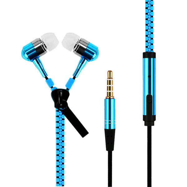 Powstro 3.5mm Earphone Metal Zipper In-Ear Bass Stereo Wired Sports Fashion with Microphone for Samsung iPhone Sony LG Xiaomi