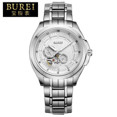 BUREI Brand Men Sapphire Stainless Steel Automatic Mechanical Watch Waterproof Luminous Wristwatches With Premiums Package 5025