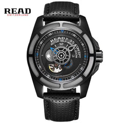 READ brand leather band luxury quality men male military clock table man watches automatic mechanical movement R8090G