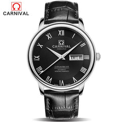 2017 Fashion CARNIVAL Watches Mens Automatic Mechanical Watch AUTO Date Analog Leather Sport Men Wristwatch Relogio Masculino