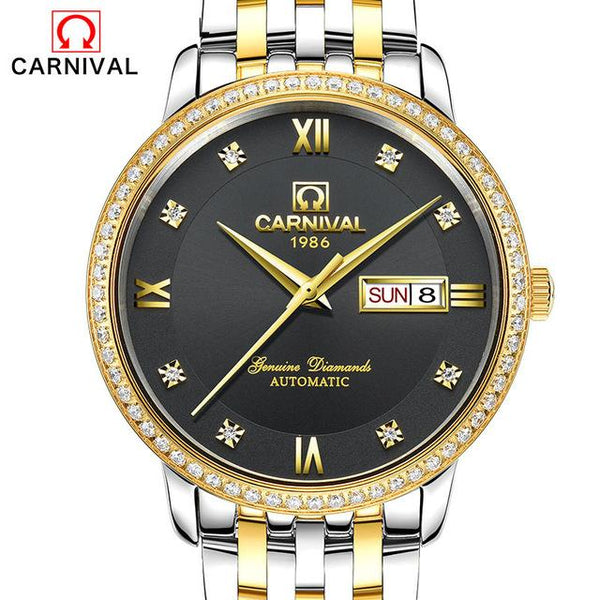 2017 New CARNIVAL Automatic Mens Watches Business Classic Mechanical AUTO Date Day Stainless Steel Band Skeleton Wristwatch