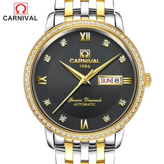 Relogio Masculino 2017 Carnival Watches Men Business Stainless Steel Wristwatch Mens Fashion Automatic Mechanical Watch Reloj