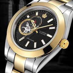MG.ORKINA Mens Automatic Self Winding Mechanical Skeleton Watches Waterproof Silver Stainless Steel 316L 40MM Auto Date Watch