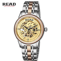 READ Royal Knights series of hollow Automatic Mens Rose Facial brown leather 8002