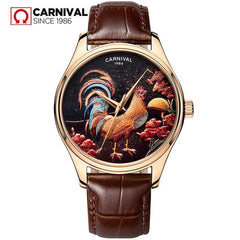 CARNIVAL Luxury Brand Men Watches 2018 The Year Of Rooster Limited Edition Watch Men Fashion Automatic Male Clock 5ATM Uhren