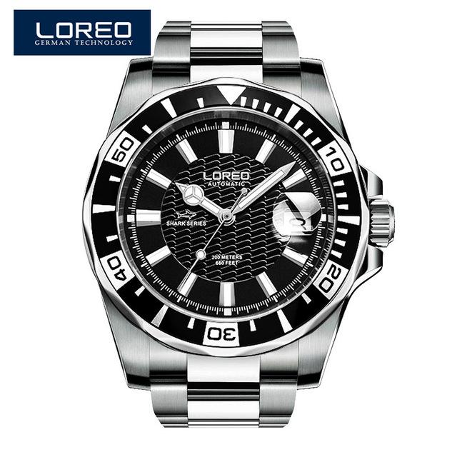 LOREO Original Men Mechanical Watches Men Luxury Brand Full Steel Waterproof 200m Business Automatic Wristwatches For Men A50