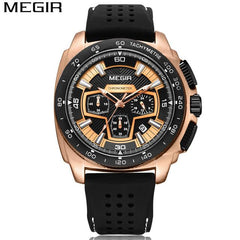 MEGIR Men's Casual Watch Silicone Band Waterproof Army Military Chronograph Sport Watch Male Creative Clock For Birthday Gifts
