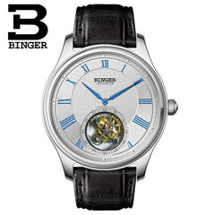 Switzerland Luxury Brand Men Watches BINGER Watch Men Seagull Automatic Movemt Tourbillon Sapphire Alligator Hide Mechanical 2