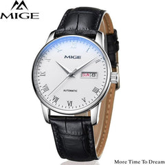 MIGE Watch Men Mechanical Wristwatch Calendar Synthetic Sapphire Crystal Water Resistant Cowhide Leather Strap Relogio Masculino