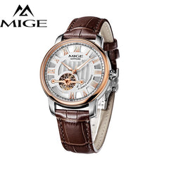 MIGE New Arrival Watches Men Top Brand Luxury Hollow Automatic Mechanical Wristwatches Genuine Leather Strap Relogio Masculino