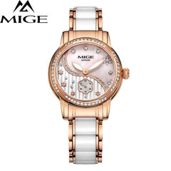 MIGE Fashion Women Quartz Watches Top Brand Luxury Synthetic Sapphire Crystal Rhinestone Ceramic Watch Bands Relogio Feminino