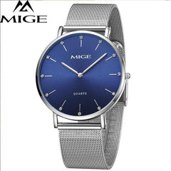 MIGE Fashion Quartz Watches Men Synthetic Sapphire Crystal Rhinestones Japan Movement Genuine Leather Watchband Relogio Feminino