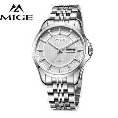 MIGE Watches Men Mechanical Wristwatch Calendar Date Synthetic Sapphire Crystal Rhinestones Water Resistant Full Stainless Steel