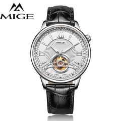 MIGE Luxury Watches Men Tourbillion Mechanical Wristwatch Synthetic Sapphire Crystal Genuine Leather Strap Relogio Masculino