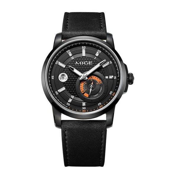 MIGE Watch Men Synthetic Sapphire Crystal Calendar Luminated Japan Movement Waterproof Cowhide Leather Strap Relogio Masculino