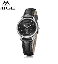 MIGE Luxury Women Watches Men Quartz Wristwatches Synthetic Sapphire Crystal 30m Waterproof Genuine Leather Watchband Relogio
