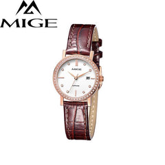 MIGE Fashion Women Watches Men Lovers Quartz Wristwatch Japanese Movement Synthetic Sapphire Crystal Waterproof Relogio Feminino