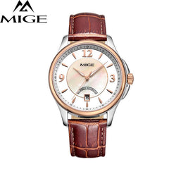 MIGE Fashion Watch Men Women Mechanical Watches Synthetic Sapphire Crystal Calendar Hollow Cowhide Leather Strap Butterfly Clasp