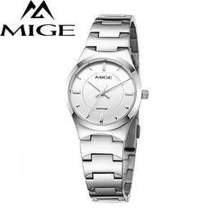 MIGE Women Watches Men Quartz Movement Synthetic Sapphire Crystal Water Resistant 316L Stainless Steel Bracelet Relogio Feminino