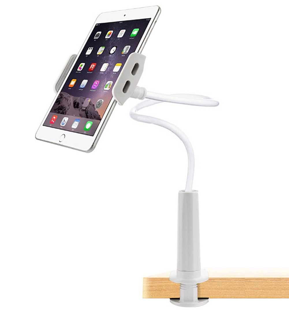UNHO Flexible Desk Table 360 Degrees Rotating Desktop Stand Lazy Bed Gooseneck Tablet Holder Mount Compatible with 4-11 inch iPhone, iPad Mini, iPad Air/pro Samsung S7, Samsung Tablets ,Note7 White