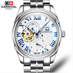 Carnival Hollow Tourbillon Automatic Watch Men Business Full Steel Mens Watches Multifunction Waterproof Clock relogio masculino