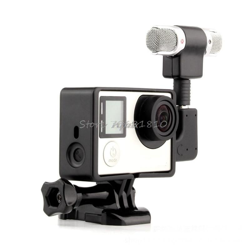 External Microphone Mic + Adapter + Standard Frame Kit Fit For GoPro Hero 4 3+ 3 Z07 Drop ship