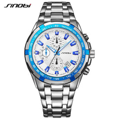 Original Brand Sinobi 9720 Men's Business Chronograph Watches Waterproof Stainless Steel Band Sports Watch Relogio Masculino