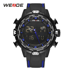 WEIDE Men Quartz Watches Sport Alarm Chronograph Auto Date Digital Calendar Display Analog Black Rubber Strap Outdoor Wristwatch