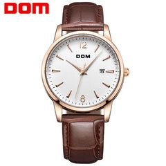 DOM Man watches luxury brand waterproof style quartz leather gold business watch relojes reloj M-3311