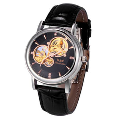 Paradise 2017 Hot 1PC Men Fashion PU Leather Band Skeleton Mechanical Wrist Watch water resistance wholesale  July22