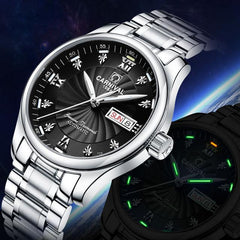 Carnival Top Brand Luxury Watch Men Automatic Mechanical Watches Tritium Luminous Stainless Steel Waterproof Male Clock relojes