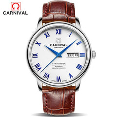 Carnival Fashion Automatic Mechanical Watche Mens Leather Strap Wristwatches Watch Men Sapphire Crystal Clock erkek kol saati