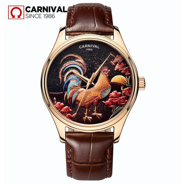 Carnival Watches Leather Strap Automatic Watch Men Casual 3D Chicken Pattern Mechanical Wristwatches Mens Rose Gold Clock saat