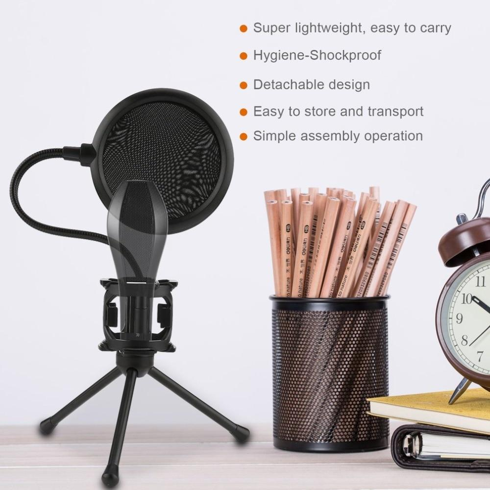 Mini Microphone POP Filter Shockproof Desktop Tripod Stand Microphone Mount Holder Filter Cover for Broadcasting Karaoke